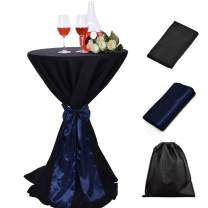 LOVWY 30 Inch (2.5 FT) / 32 Inch Cocktail Black Tablecloth Seamless Polyester Fabric + Navy Blue Satin Sash Combination for Decoration of Wedding Engagement Club Bar Outdoor Party