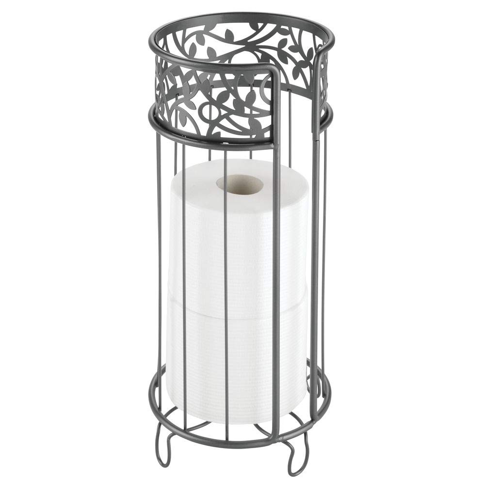 mDesign Decorative Free Standing Toilet Paper Holder Stand with Storage for 3 Rolls of Toilet Tissue - for Bathroom/Powder Room - Holds Mega Rolls - Durable Metal Wire - Graphite Gray