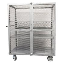 "Winholt EC-3-2448/2ADJ Security Cage, Steel, 24"" Width x 48"" Length x 63"" Height, 2000 lb. Capacity, Silver Grey"