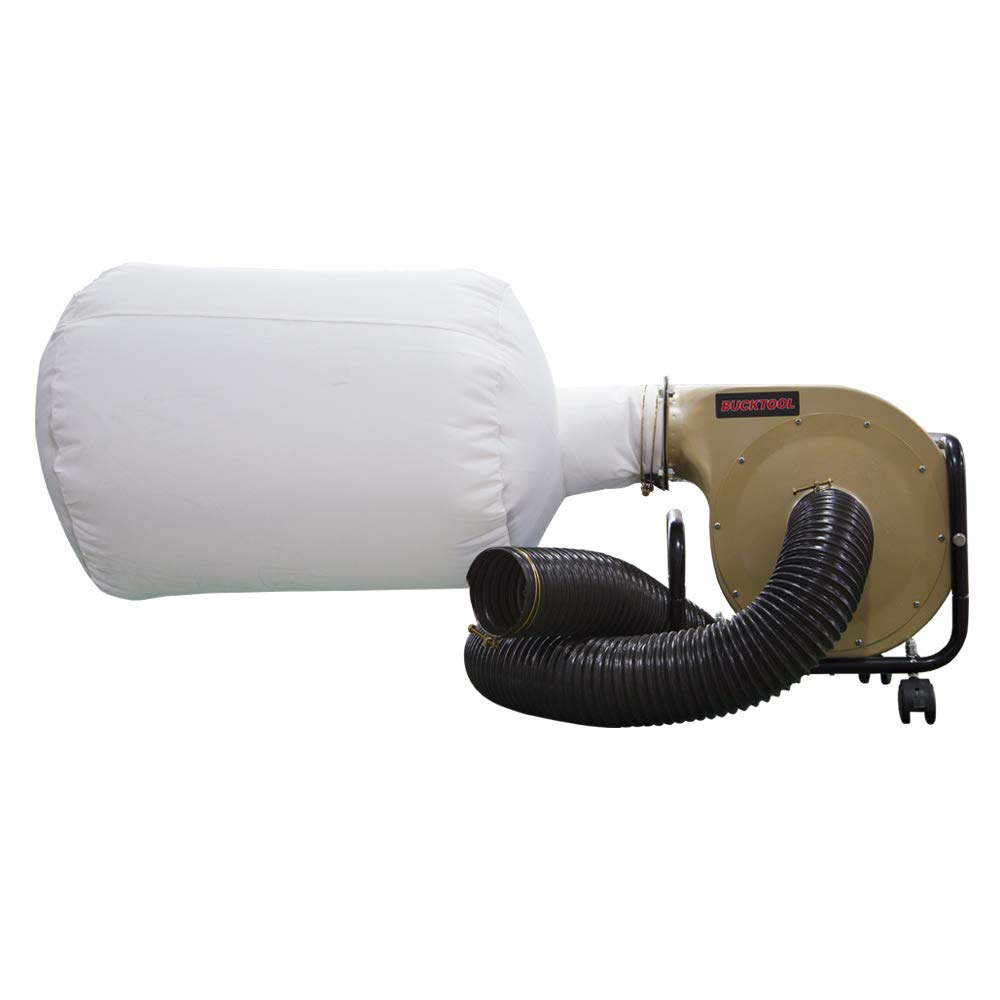 BUCKTOOL 1HP 6.5AMP Wall-mount Dust Collector with Dust Bag, 550CFM Air Flow DC30A