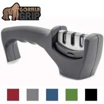 Gorilla Grip Original Premium Knife Sharpener, Professional Kitchen Chef 3 Slot Design, Easy Manual Sharpening, Non Slip Grip, Safely Sharpen Knives, Restore Your Dull Knife for A Sharp Edge, Gray