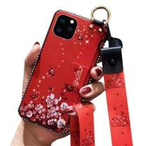 iPhone 11 Pro Max Crossbody Lanyard Case,Aulzaju iPhone 11 Pro Max Shiny Stylish Foldable Kickstand Case Soft TPU Flower Hybrid Cover for iPhone 11 Pro Max with Wrist Strap(Red)