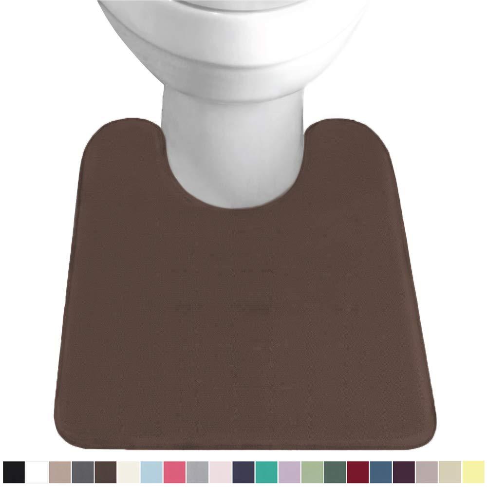 Gorilla Grip Original Thick Memory Foam Contoured Toilet Bath Rug 22.5x19.5, U Shape, Cushioned, Soft Floor Mats, Absorbent Cozy Bathroom Mat Rugs, Machine Wash and Dry, Plush Bath Room Carpet, Brown