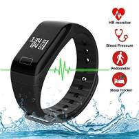 L8star Fitness Tracker with Heart Rate Blood Pressure Monitor Real-Time Pedometer Calorie Counter Sport Activity Tracker Sleep Monitoring Sedentary and Call Reminder for iOS and Android