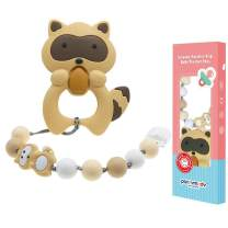 Panny & Mody Baby Teething Toys Cute Raccoon Textured Silicone Teether for Newborns Infants Toddlers Boys and Girls, Beige