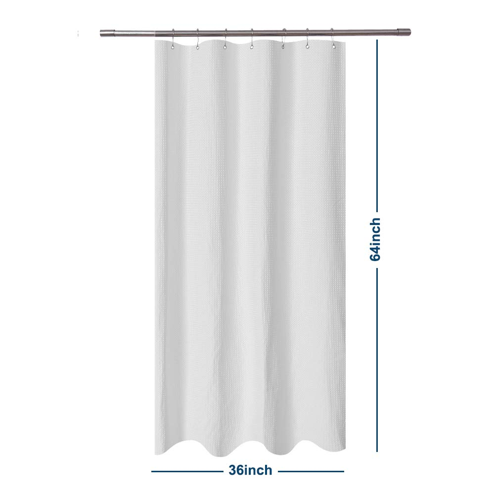Barossa Design Small RV Shower Curtain Waffle Weave 36 x 64 Inches - 230GSM Heavy Fabric, Water Repellent, Washable, White, 36x64