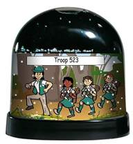 PrintedPerfection.com Personalized NTT Cartoon Caricature Snow Globe Gift: Girl Scout Troop
