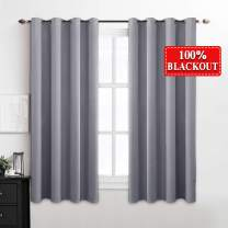 """MIULEE 100% Blackout Curtains Thermal Insulated Solid Grommet Curtains/Drapes/Shades for Bedroom Living Room 2 Panels, 52"""" x 54"""", Light Grey"""