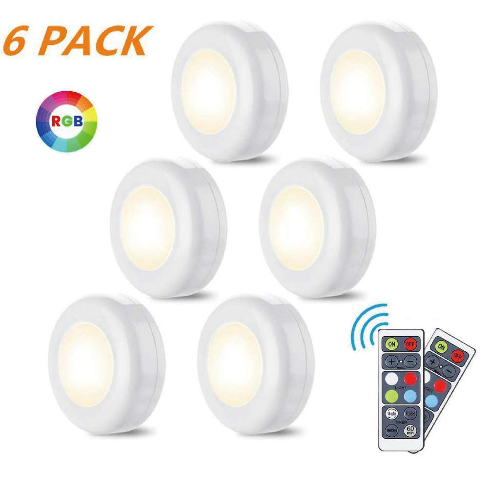 LED Closet Lights 6 Pack, LED Puck Lights with 2 Remote Control, Dimmable Under Cabinet Lights Battery Powered Under Counter Lights 16 Colors RGB 3 Modes Remote Controls for Kitchen