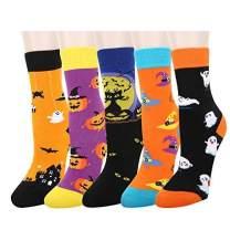 Zmart 5 Pack Girls Boys Black Cat Wacky Novelty Crew Socks, Crazy Design for Kids