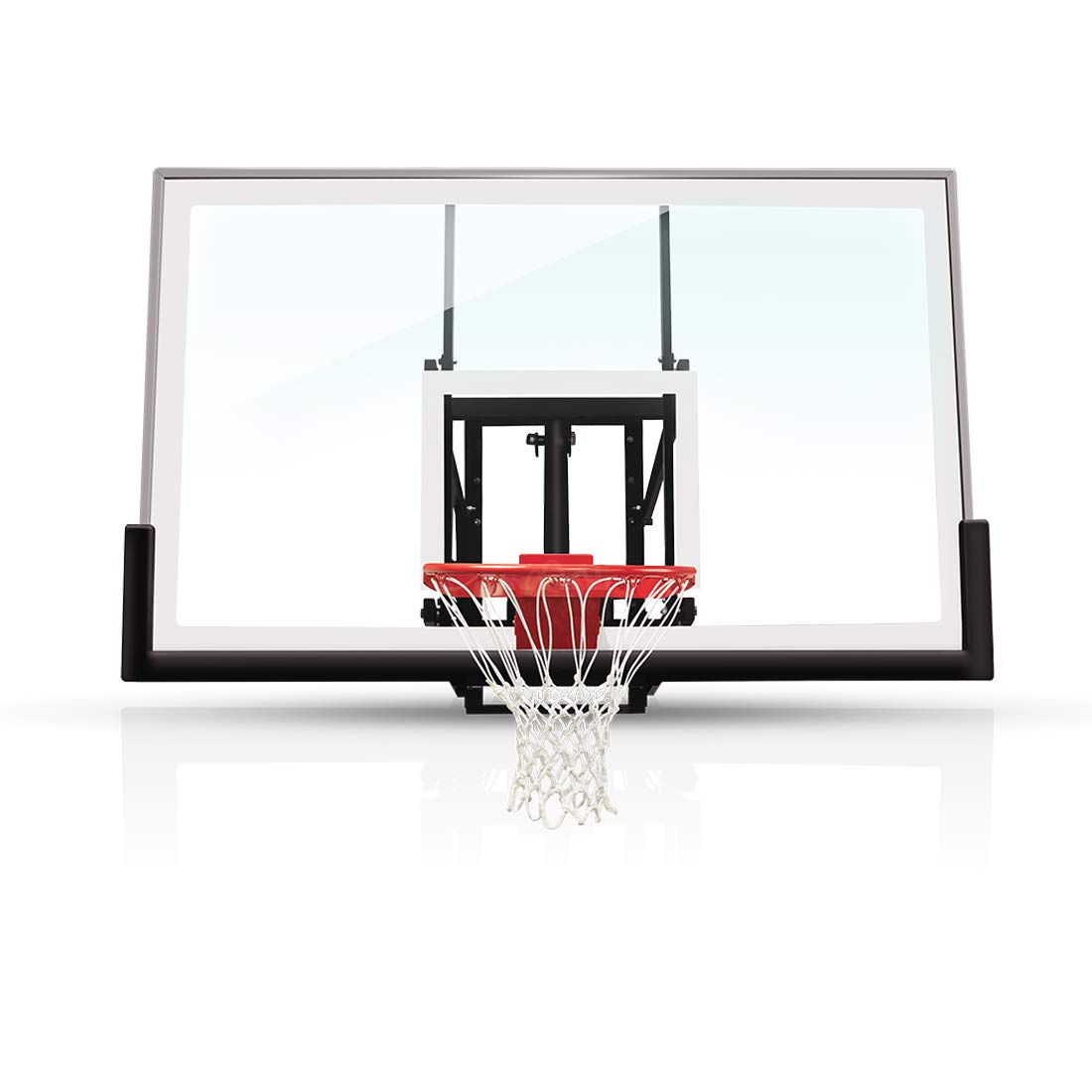 "katop 60"" 72"" Wall Moundted Basketball Goal Hoop with a High-Performance Tempered Glass Backboard, Effortlessly Height Adjustable from 7.5 to 10 Feet Fit Indoor and Outdoor Wall"