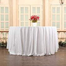 """Eternal Beauty Sequin Tablecloth, Sequin Table Linen (90""""Round, Ivory)"""