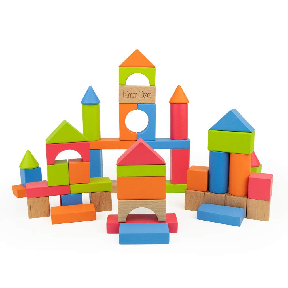 Wooden Building Blocks for Toddlers and Preschoolers - Colored Wood Construction Bricks Set for Kids Age 2 (Developmental Toy, Play and Build 50 pcs in Variety of Sizes, Geometric Shapes and Colors)
