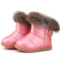 FJWYSANGU Toddler Girl Warm Winter Snow Boots Plush Inner Outdoor Boots Waterproof Walking Shoes Flat Easy on for Toddlers Little Girls