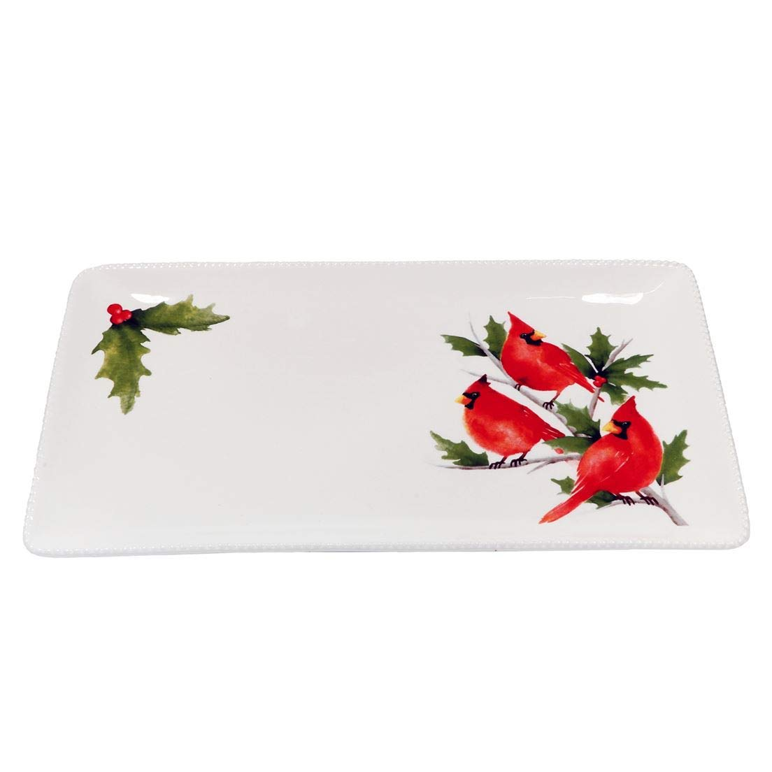 DEI Ceramic Platter, 16.25 x 8.75 x 1.25, White/Red