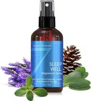 Natural Sleeping Aid for Insomnia and a Good Night's Sleep - Powerful Magnesium Oil Blend with Organic Essential Oils (Cedarwood, Lavender, Sweet Marjoram, and Clary Sage) Made in USA - 4 fl oz