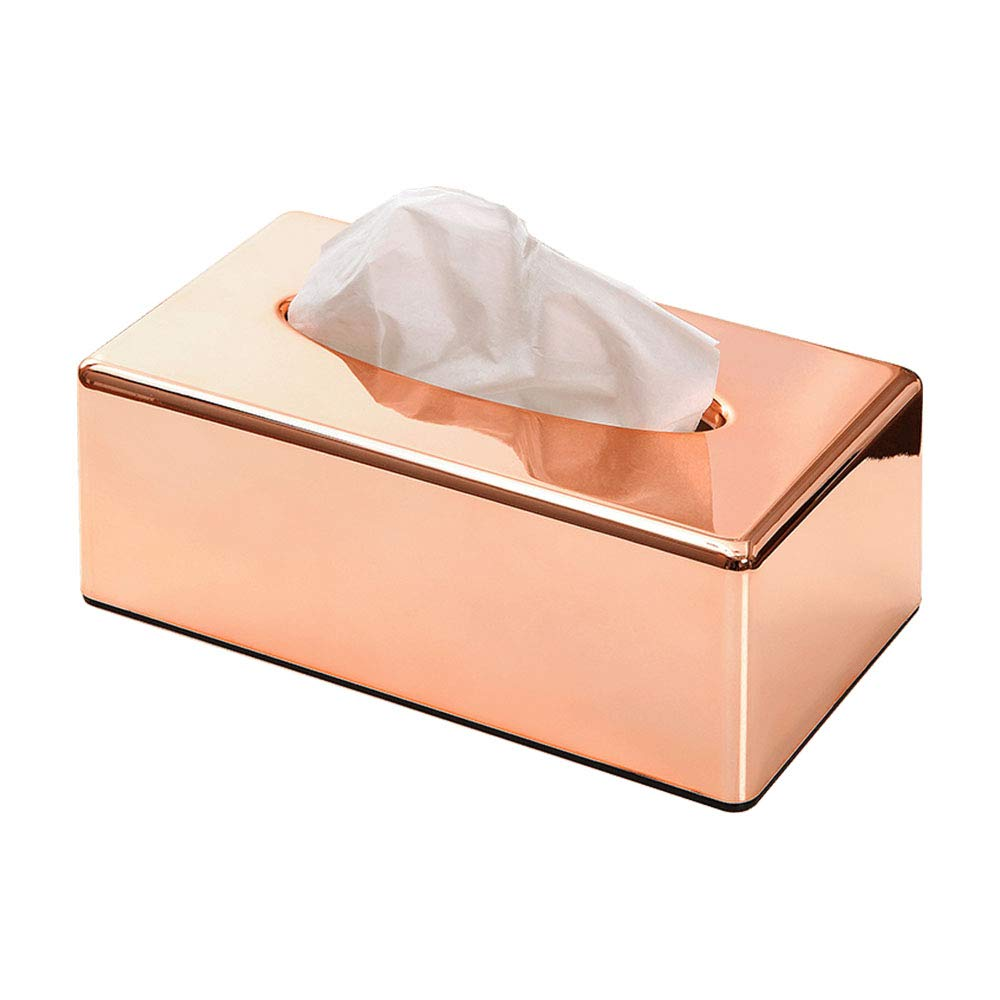 ORZ Rectangle Facial Tissue Box Cover Container for Kitchen Bathroom Vanity Countertops Napkin Tissue Holder- Rose Gold
