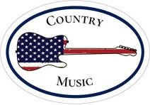 WickedGoodz Oval American Flag Guitar Country Music Vinyl Decal - Musician Bumper Sticker - Perfect Country Music Fan Gift