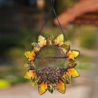 """Evergreen Garden Sunflower Metal and Glass Hanging Mesh Bird Feeder - 12.5""""W x 3"""" D x 17"""" H"""