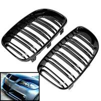 SHENGYAWAUTO 2PCS Front Kidney Grill Grille Gloss Black For 2009-2011 BMW E90 E91 LCI 325i 328i 4D