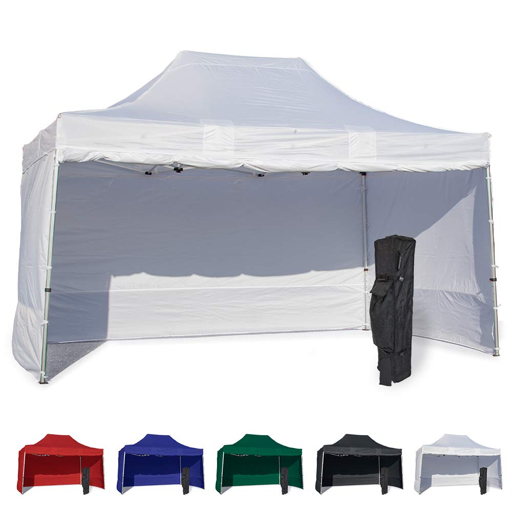 Vispronet 10x15 Instant Canopy Tent and 4 Side Walls – Commercial Grade Steel Frame with Water-Resistant Canopy Top and Sidewalls – Bonus Canopy Bag and Stake Kit Included (White)