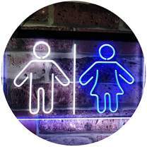 """ADVPRO Toilet Man Woman Male Female Washroom WC Restroom Dual Color LED Neon Sign White & Blue 12"""" x 8.5"""" st6s32-i3047-wb"""