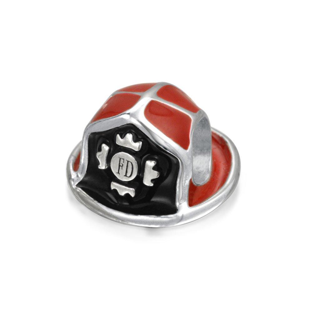 Red Fireman Department Firefighter Hat Helmet Charm Bead For Women For Teen 925 Sterling Silver Fits European Bracelet