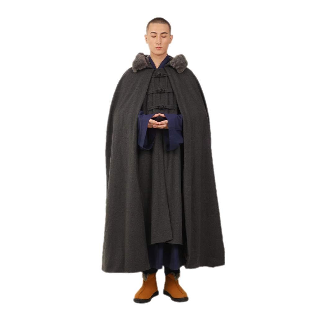 ZanYing Buddhist Meditation Hooded Cloak Fleece Wool Winter Coat Unisex