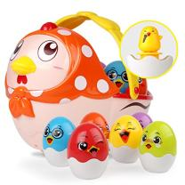 nicknack Easter Eggs Musical Toy Hen Chicken Eggs for 1 2 3 4 5 Year Old Baby & Toddler Stacking Eggs Birthday Gift for Infants