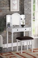 Poundex F4159 Bobkona Tania Tri-fold Mirror Vanity Set with Stool, White