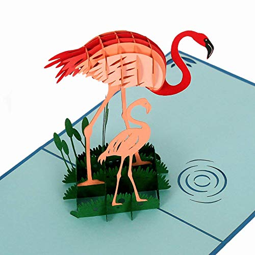 CUTPOPUP Mothers Day Pop Up Card with Flamingo- Unique Design, Perfect Detail- Great Gift for Birthday, Thanksgiving, Any Anniversary for Kids, Animal Lovers- Includes Elegant Envelope