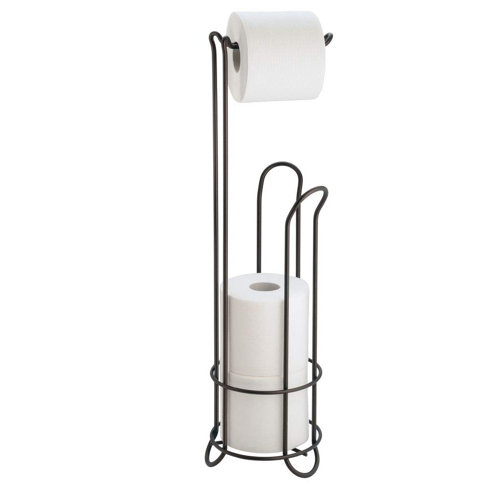 """iDesign Classico Metal Free Standing Toilet Paper Tissue Holder, Roll Reserve Canister for Kids', Guest, Master, Office Bathroom, 6.5"""" x 23.75"""", Bronze"""