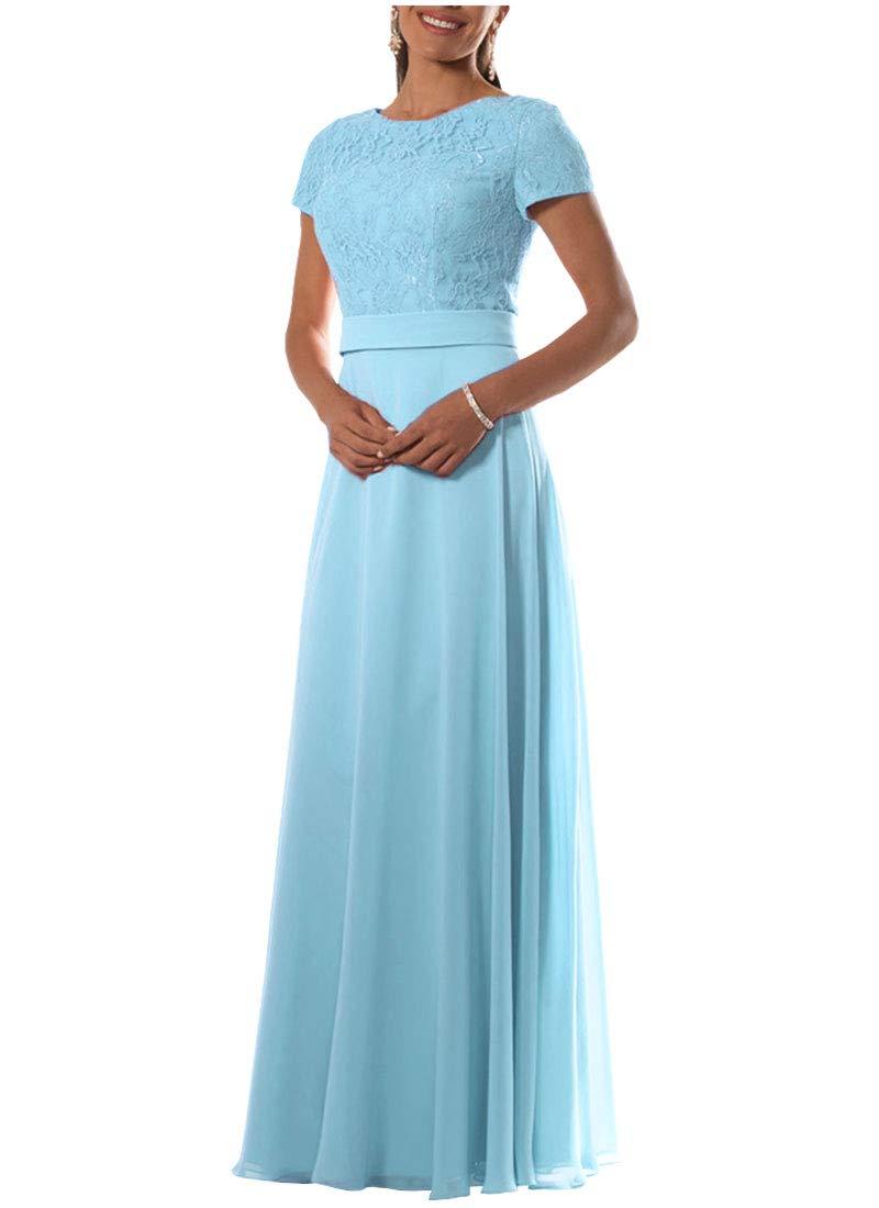 Danysu Women's Lace Bridesmaid Dresses Long Chiffon Formal Evening Dress Sleeves