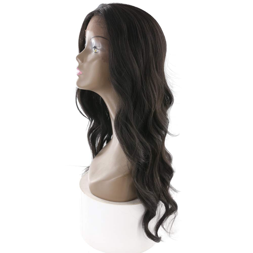 X-tress Long Wavy Glueless Synthetic Lace Front Wigs Fashion Body Wave Black Color Fashion Wigs 23 Inches Wig Heat Resistant for Women Party Dating(1B)