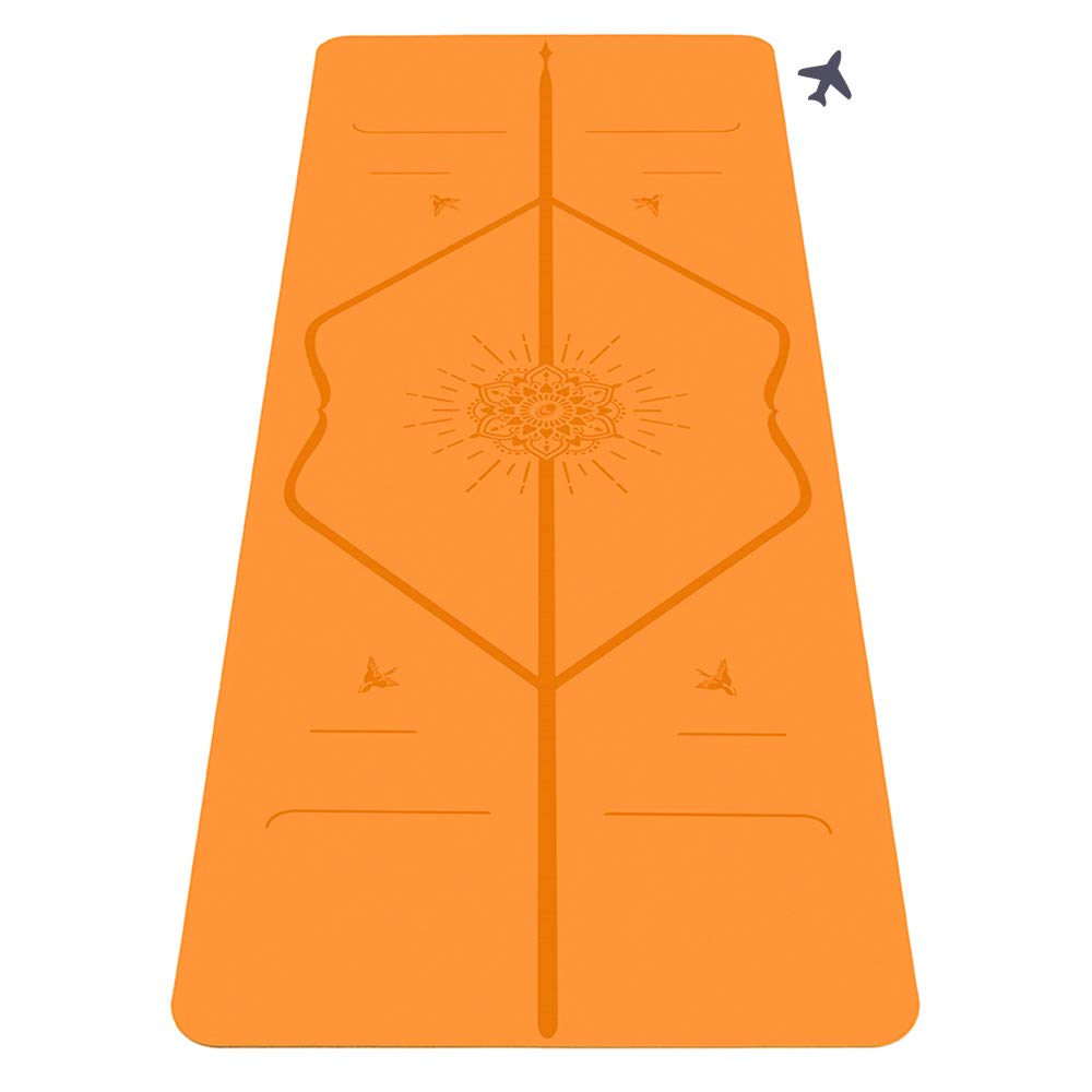 Liforme Travel Yoga Mat - The World's Best Eco-Friendly, Non Slip Yoga Mat with The Original Unique Alignment Marker System. Biodegradable Mat Made with Natural Rubber - Happiness Edition Orange