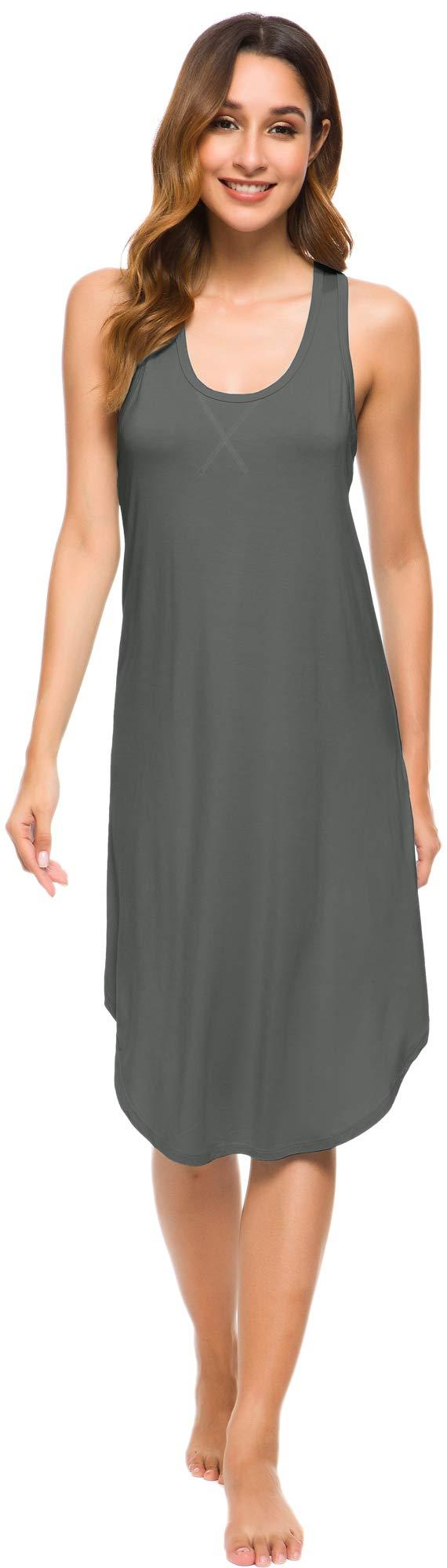 WiWi Womens Soft Bamboo Pajamas Sleeveless Racerback Nightgown Full Slips Sleepshirts Plus Size Sleepwear S-4X