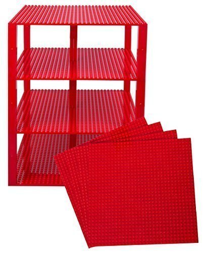 """Strictly Briks Classic Baseplates 10"""" x 10"""" Brik Tower 100% Compatible with All Major Brands   Building Bricks for Towers and More   4 Red Stackable Base Plates & 30 Stackers"""