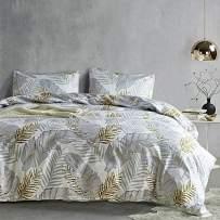 Duvet Cover King Floral White Hotel Bedding Sets with Soft Lightweight Microfiber 1 Duvet Cover and 2 Pillow Shams (King, Banana Leaf)
