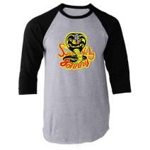 Sweep The Leg Johnny Cobra Kai Karate Kid 80s Black XL Raglan Baseball Tee Shirt
