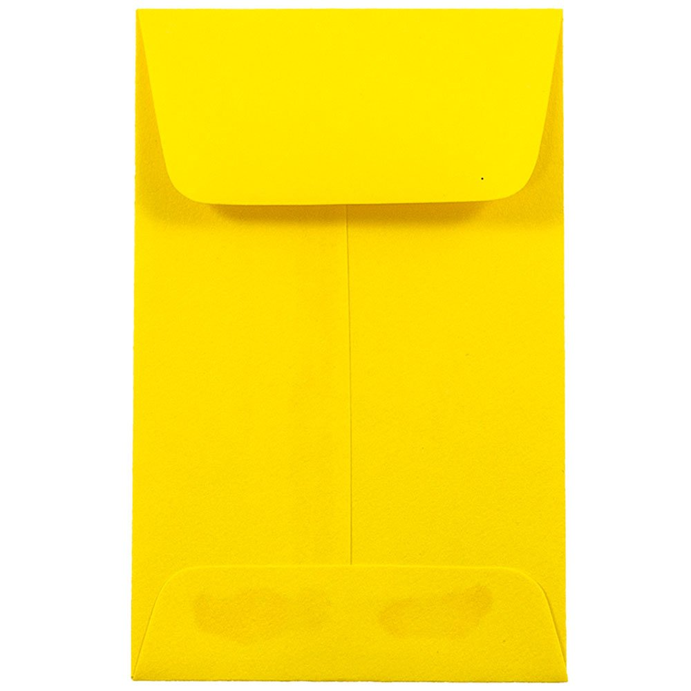 JAM PAPER #1 Coin Business Colored Envelopes - 2 1/4 x 3 1/2 - Yellow Recycled - 25/Pack