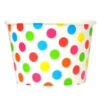 [100 Count] Rainbow Paper Ice Cream Cups - 8 oz Polka Dotty Dessert Bowls Perfect For Yummy Treats! Frozen Dessert Supplies