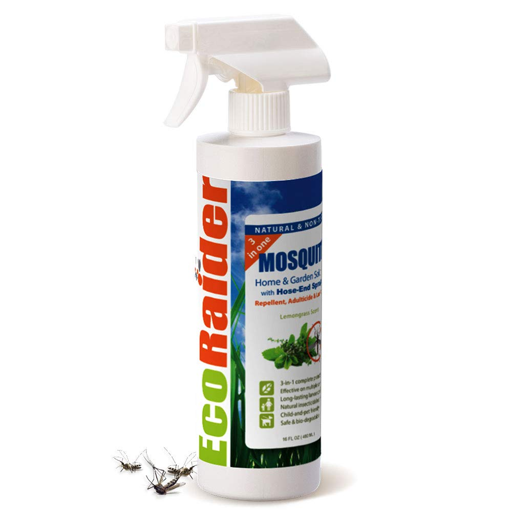EcoRaider Mosquito & Flying Insect Killer 16 OZ, 3-in-One Repellent, Adulticide and Larvicide, Natural & Non-Toxic (16 OZ)