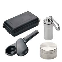 JamaicanWhale Herb Tool,Small Zinc Alloy Pipe, Include Herb Grinder,Portable Package(Dark Black)