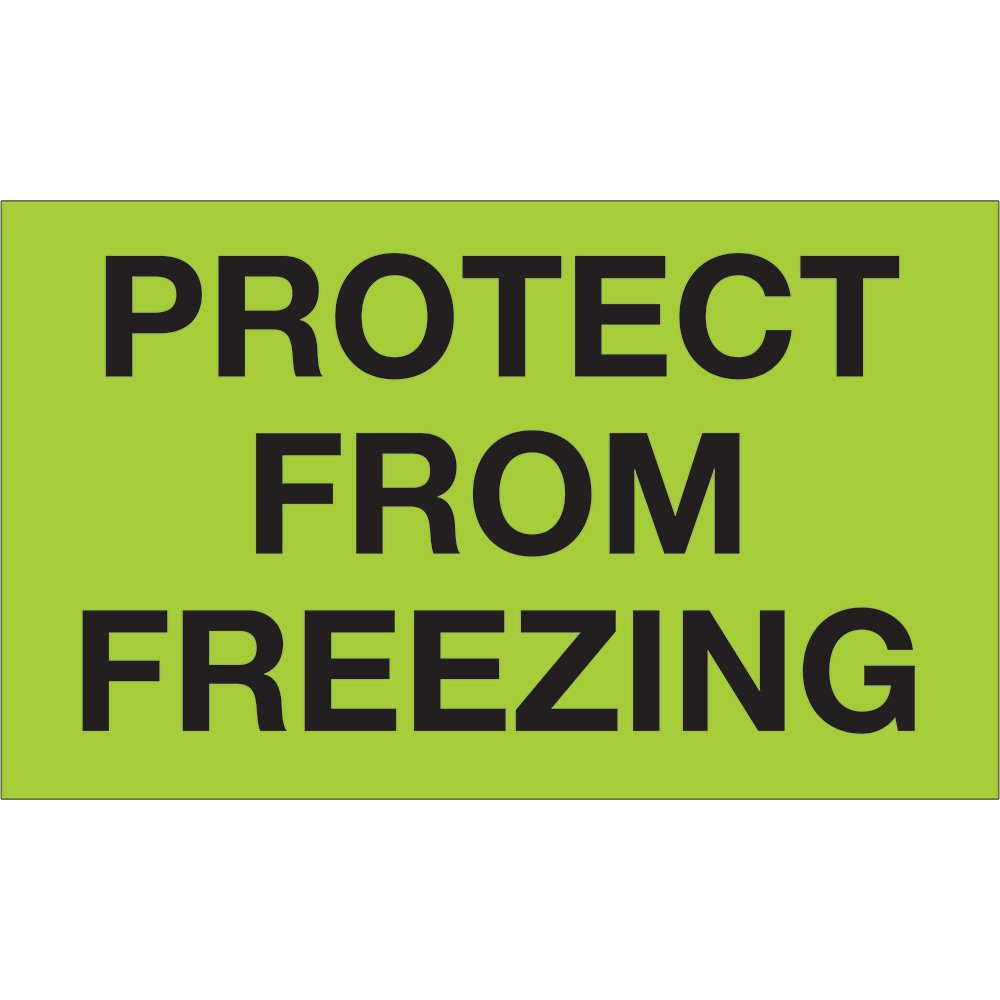 """Tape Logic DL1329 Climate Labels,""""Protect from Freezing"""", 3"""" x 5"""", Fluorescent Green, 500 Per Roll"""