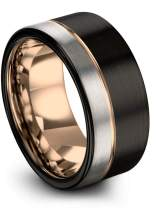 Midnight Rose Collection Tungsten Wedding Band Ring 12mm for Men Women 18k Rose Yellow Gold Plated Flat Cut Off Set Line Black Grey Half Brushed Polished