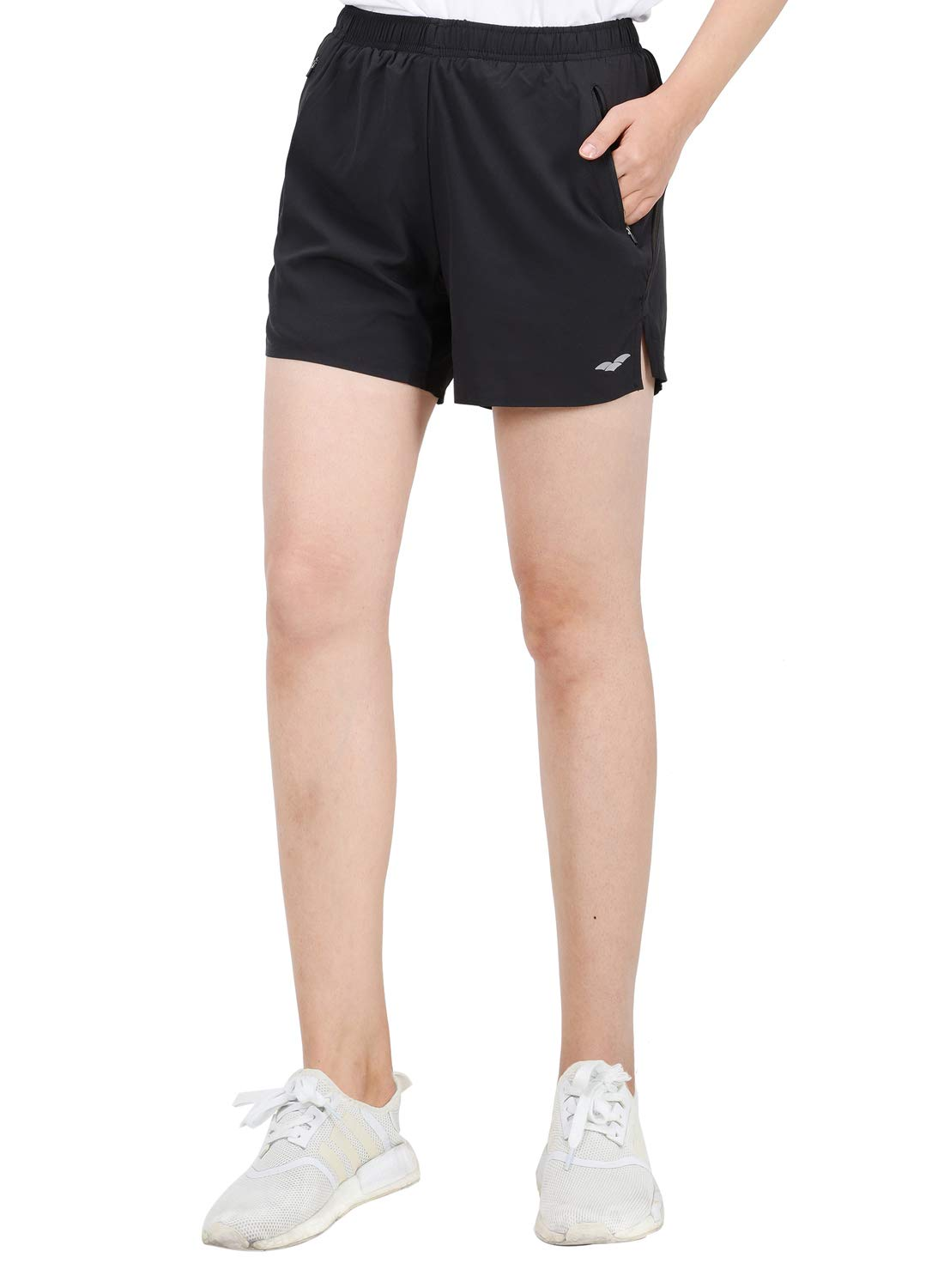 MIER Women's 5 Inches Workout Running Shorts Quick Dry Athletic Shorts with Zipper Pockets, Water Resistant, Black