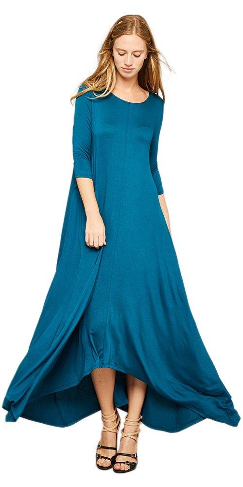 Tabeez Women's Casual Asymmetrical Handkerchief Hem 3/4 Sleeve Jersey Maxi Dress Teal Small