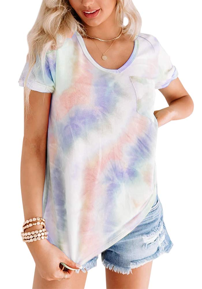 Womens Tie Dye Short Sleeve T Shirt Plus Size V Neck Summer Loose Casual Tee Tops with Pocket