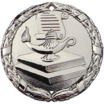 """Express Medals Lamp of Knowledge Scholastic Medal Silver 2"""" with Red White & Blue Neck Ribbon Award Trophy"""