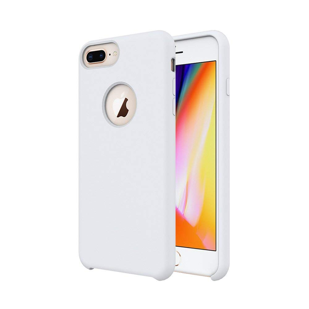 TIAMAT iPhone 8 Plus Case/iPhone 7 Plus Case/iPhone 6 Plus Case, Soft Touch, Comfortable Grip, Slim Fit, Liquid Silicone Case with Microfiber Cloth Lining Cushion - White